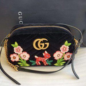 Gucci Marmont Velvet Embroidered Flower Black Shoulder Bag